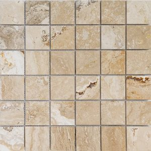 "Leonardo 2""x2"" Travertine Mosaic 5 2x2 Leonardo Polished Travertine Mosaic"