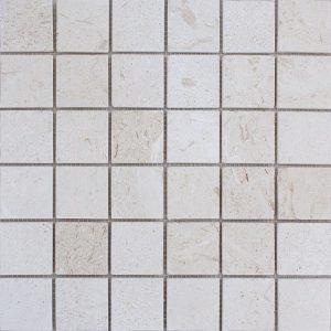 "Shell Beige 2""x2"" Limestone Mosaic 8 2x2 Shell Stone Tumbled Limestone Mosaic"