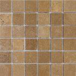 """Walnut 2""""x2"""" Travertine Mosaic 2 2x2 Walnut Tumbled Travertine Mosaic"""