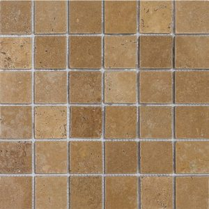 "Walnut 2""x2"" Travertine Mosaic 10 2x2 Walnut Tumbled Travertine Mosaic"