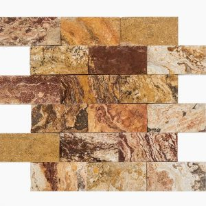 "Autumn Blend 2""x4"" Travertine Mosaic 6 2x4 Autumn Blend Splitface Travertine Mosaic"