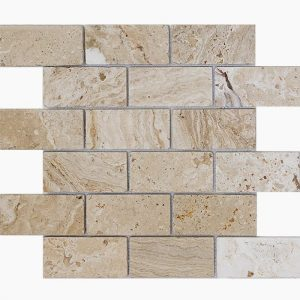 "Leonardo 2""x4"" Travertine Mosaic 7 2x4 Leonardo Tumbled Travertine Mosaic"