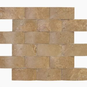 "Noche 2""x4"" Travertine Mosaic 10 2x4 Noce Weave Tumbled Travertine Mosaic"