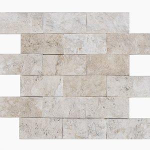 "Shell Beige 2""x4"" Limestone Mosaic 13 2x4 Shell Stone Splitface Limestone Mosaic"