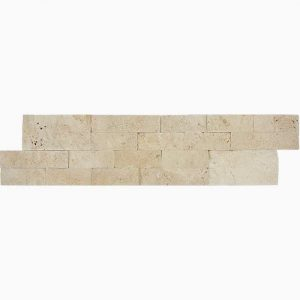 "Ivory 6""x24"" Splitface Ledger 14 6x24 Ivory Premium Select Splitface Ledgestone Travertine Panel"