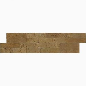 "Noche 6""x24"" Splitface Ledger 13 6x24 Noce Premium Select Ledgestone Splitface Tarvertine Panel"