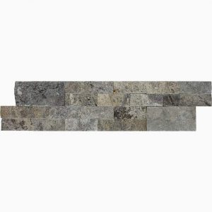 "Silver 6""x24"" Splitface Ledger 5 6x24 Silver Premium Select Splitface Ledgestone Travertine Panel"