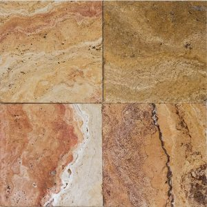 "Autumn Blend 6""x6"" Travertine Tile 9 6x6 Autumn Blend Premium Select Tumbled Travertine Tile"