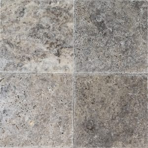 "Silver 6""x6"" Travertine Tile 6 6x6 Silver Premium Select Tumbled Travertine Tile"