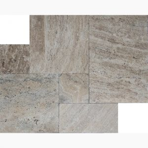 Silver River French Pattern Travertine Paver 4 French Pattern Silver River Premium Select Tumbled Travertine Paver