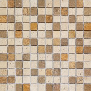 "Mix-Multi Color 1""x1"" Travertine Mosaic 6 1x1 Mix Multi Color Tumbled Travertine Mosaic"