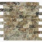 "Antique Onyx 1""x2"" Travertine Mosaic 2 1x2 Antique Onyx Splitface Travertine Mosaic"