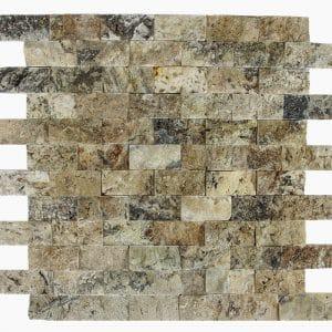 "Antique Onyx 1""x2"" Travertine Mosaic 1 1x2 Antique Onyx Splitface Travertine Mosaic"