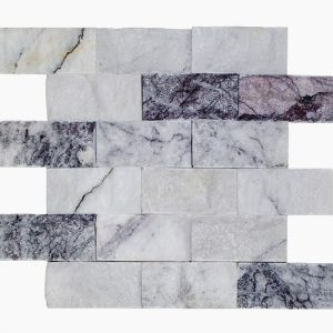 Other Marbles 8 2x4 White Lilac Splitface Marble Mosaic