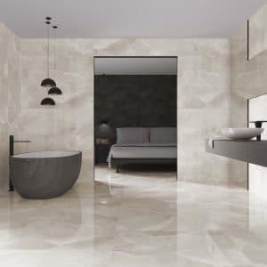 Diamante 15 Denton crema 24x48 porcelain rectified tile polished project pic 2