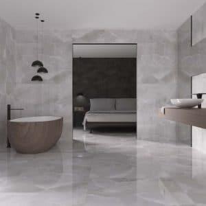 Diamante 18 Denton perla 24x48 porcelain rectified tile polished project pic