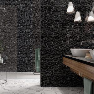 Diamante 8 Diamante Black porcelain tile mixed project tile