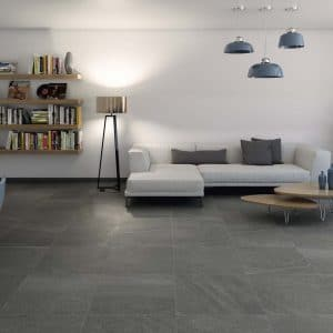 Porcelain limestone 23 Limestone Coal Porcelain rectified tile project pic 2