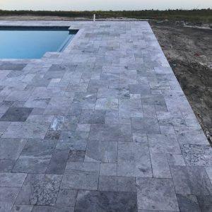 Tundra Gray 22 Tundra Gray Marble French Pattern Paver backyard pool Project Pic