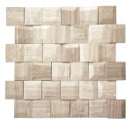 Adamant White Wood Geometric Beveled Marble Mosaic 1 Adamant white wood geometric beleved marble mosaic