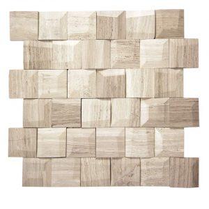 Adamant White Wood Geometric Beveled Marble Mosaic 6 Adamant white wood geometric beleved marble mosaic