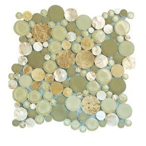 Agata Circle Beige Bubble Glass Mosaic 7 agata circle beige bubble glass mosaic
