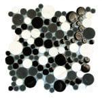 Agata Circle Black & White Bubble Glass Mosaic 2 agata circle black white bubble glass mosaic