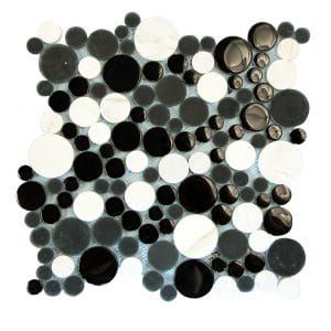 Agata Circle Black & White Bubble Glass Mosaic 8 agata circle black white bubble glass mosaic