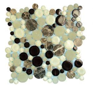 Agata Circle Emperador Bubble Glass Mosaic 9 agata circle emperador bubble glass mosaic