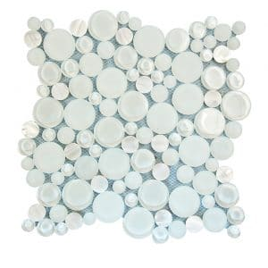 Agata Circle White Bubble Glass Mosaic 10 agata circle white bubble glass mosaic