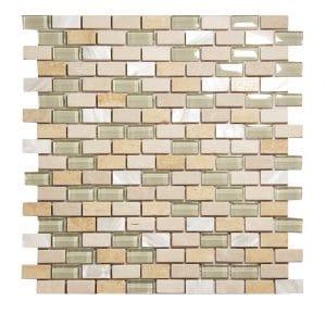 Agata Shell Beige Subway Mix Mosaic 11 agata shell beige subway mix mosaic