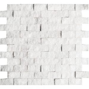"""White Carrara 1""""x2"""" Splitface Ledger 18 white carrara 1x2 splitface ledger"""