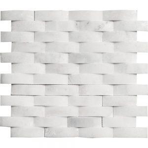 """White Carrara 1""""x3"""" Curve Marble Mosaic 9 white carrara 1x3 curve marble mosaic"""