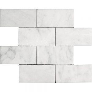 "White Carrara 3""x6"" Subway Marble Mosaic 12 white carrara 3x6 subway marble mosaic"