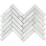 White Carrara Herringbone Marble Mosaic 1 white carrara herringbone marble mosaic