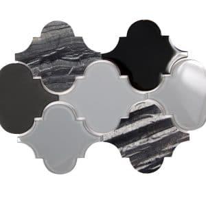 Clover Black Mix Mosaic 4 clover black mix mosaic